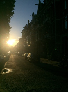 A street just outside of Vondelpark, circa sunrise.